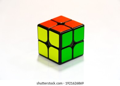 2x2 Rubik's cube on a white surface