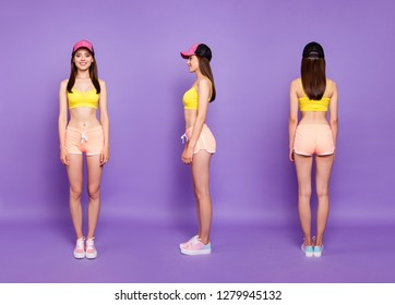 3 in 1 collage. Full length body size portrait of beautiful attractive pretty dreamy charming lady in casual trendy headwear with her beaming smile she stand isolated on bright purple background