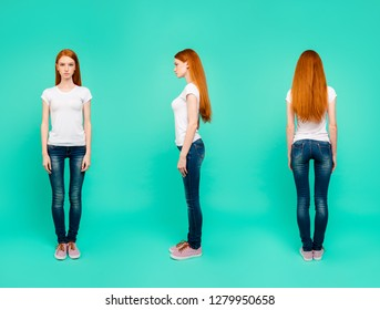 3 in 1 collage. Full length, legs, body, size portrait of attractive, beautiful, gorgeous, stunning, good-looking woman in casual wear outfit isolated on vivid mint background