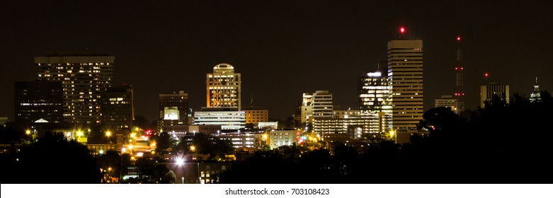 A 3 to 1 panoramic of Columbia, SC at night