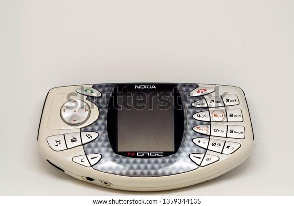 3 April 2019, Eskisehir, Turkey. Nokia Ngage and N97 vintage smartphones on white isolated background