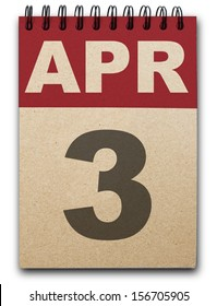 3 April calendar on recycle paper