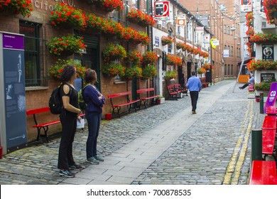 3 August 2017 Patrons outside the historic Duke of York pub in Commercial Lane in Belfast, Northern Ireland.