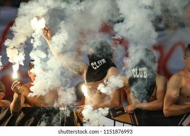 3 AUGUST, 2018 - KIEV, UKRAINE: Spectacular pyro show on the stands by ultras and fans of Shakhtar. Ukrainian Premier League. Dynamo Kyiv - Shakhtar Donetsk