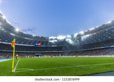 3 AUGUST, 2018 - KIEV, UKRAINE: Beautiful picturesque panoramic view of Olimpiyskiy National Sports Complex. Blue sky and fog from pyro show. Ukrainian Premier League. Dynamo Kyiv - Shakhtar Donetsk