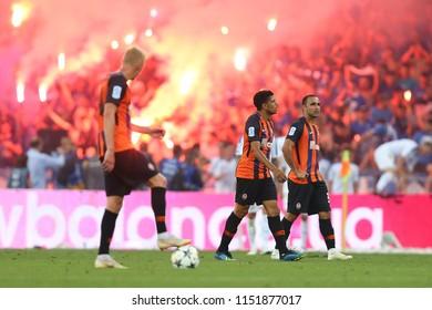 3 AUGUST, 2018 - KIEV, UKRAINE: Shakhtar Donetsk player emotions after conceded goal. Pyro show of Dynamo ultras on background. Ukrainian Premier League. Dynamo Kyiv - Shakhtar Donetsk