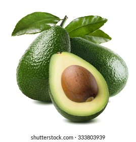 3 avocado cut half seed leaves isolated on white background as package design element