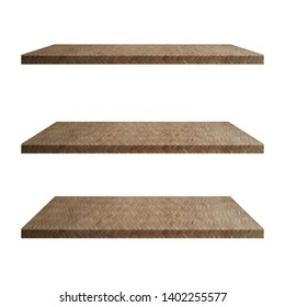 3 Bamboo weave Shelves Table isolated on white background