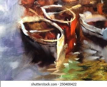 3 Boats dock wharf Painting