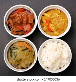 3 Bowls of Different Thai Curries