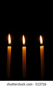 3 candles flame