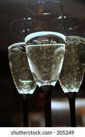 3 champagne glasses