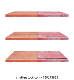 3 Color Vintage Wood Shelves Table isolated on white background