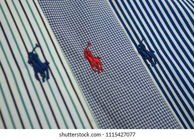3 colorful close up stitched ralph lauren logo on shirts