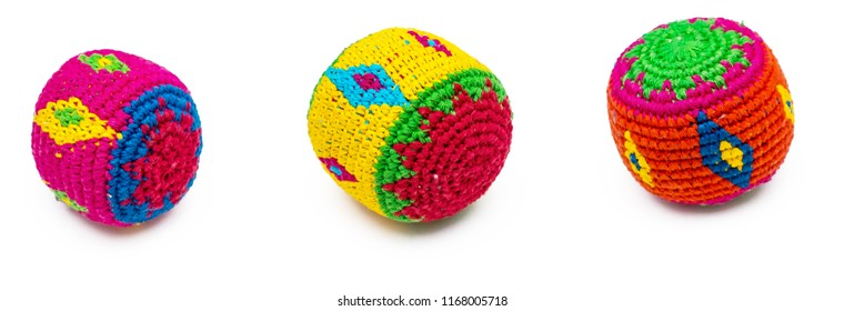 3 colorful juggling balls on white