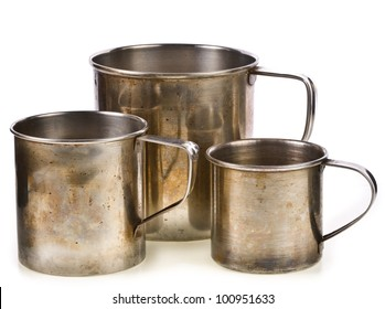 3 cups old metal isolated on white background