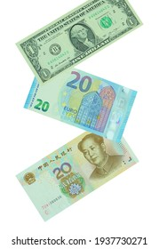 The 3 currency banknotes including dollar, euro and yuan isolated on the white background.
