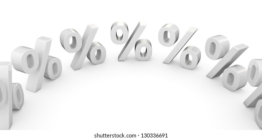 3 d white percentage symbols in a circle
