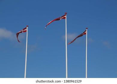 3 dansk flags - in dansk dannebrogs