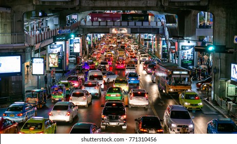 3 December, 2017: Traffic jam at night in the city, Siam Square Intersection, Bangkok, Thailand