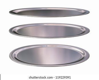 3 different view of a silver plate