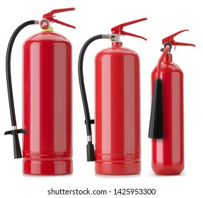3 fire extinguishers isolated over white
