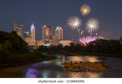 3 firework explosions over downtown Columbus