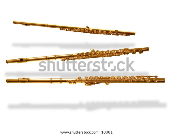 3 flutes isolated with shadows