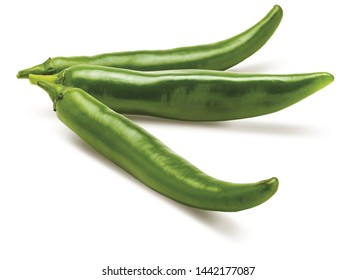 3 fresh green chilli peppers. Isolated on white background.