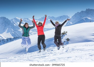 3 Girls having fun in winter holidays