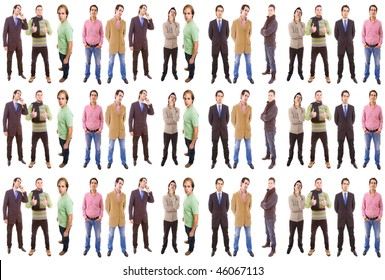 3 groups of different people isolated on white background