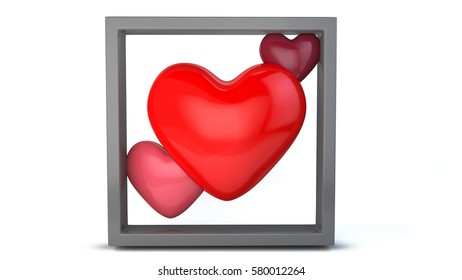 3 heart with different color in a gray frame on white background