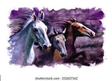 3 Horses purple speed racing painting
