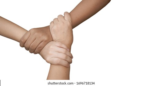 3 Human join hands together isolated on white background, collaboration of business and education teamwork concept