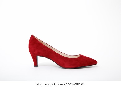 3 inch red High heel shoe in white background