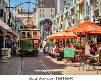 3 January 2019: Christchurch, New Zealand - New Regent Street in the centre of Christchurch, with outdoor cafes and speciality shops, and the tram route running through it.