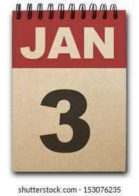 3 January calendar on recycle paper