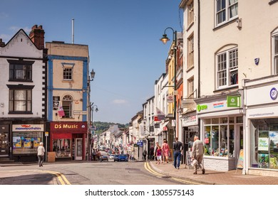 3 June 2016: Monmouthshire, Wales, UK - Shopping in Monmouth, a view from Agincourt Square into Monnow Street.