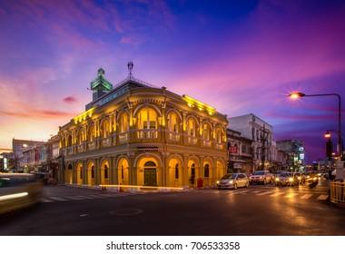 3 June 2016,Colorful Sky On Twilight Phuket Town Thailand.