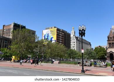 3 June 2019, Boston/USA: Boston Marathon finish line and ads on buildings at Copley Square, Boston, Massachusetts, USA.