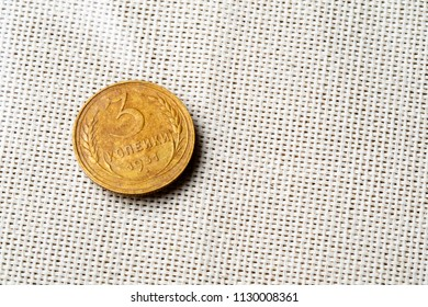 3 kopecks in 1931 on a white cloth background, a single coin of the USSR