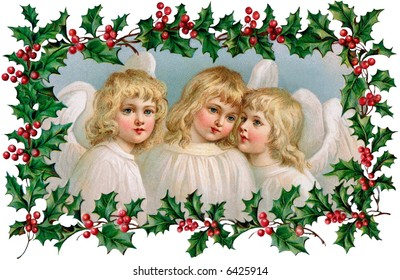 3 Little Christmas Angels with Holly Frame - a 1910 vintage illustration