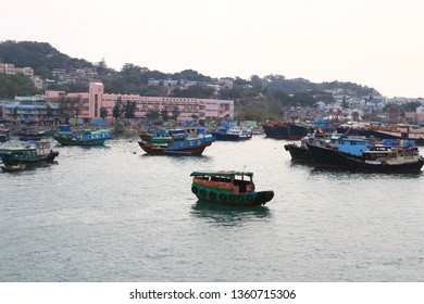 3 March 2014  boats at a harbour on Cheung Chau Island in Hong Kong, China