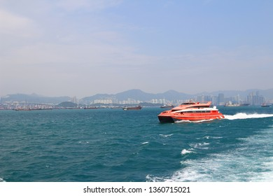 3 March 2014 the Macao to Hong Kong ferry boats in Hong Kong harbor