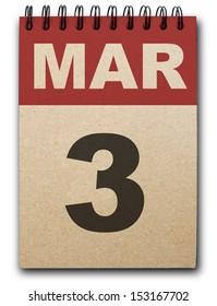 3  March calendar on recycle paper