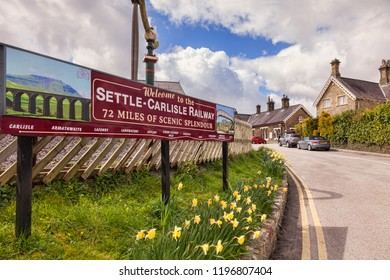 3 May 2016: Settle,  North Yorkshire, England, UK - The Railway Station.