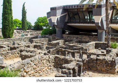 3 May 2018 The excavated ruins close to the first century Jewish Synagogue overlooked by a modern building in the ancient town of Capernaum in Israel