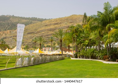 3 May 2018 Part of the grounds and lawn of The Gai Beach Hotel in Capernaum Israel. A popular tourist destination for pilgrims to the Holy Land