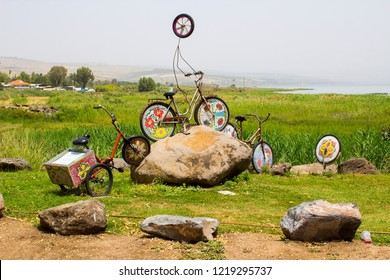 3 May 2018 A Psychedelic art installation themed on cycles and pushbikes at the Yigal Allon Centre on the shore of the Sea of Gallilee in Israel