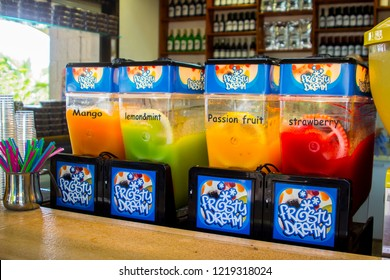 3 May 2018 A row of colourful slush puppy ice makers in a small shop at the Sea of Galilee in Israel. These treats bring welcome refreshment on a hot summer day.